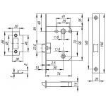 Защелка врезная Fuaro (Фуаро) PLASTIC P96WC-50 GR графит