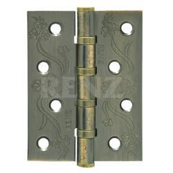 Петля декор, стальная 100 мм, универсальная, без колпачка RENZ DECOR FL 100-4BB FH AB бронза античная