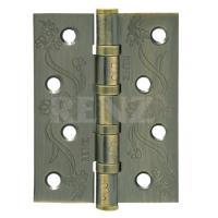 Петля декор, стальная 100мм, универсальная, без колпачка RENZ DECOR FL 100-4BB FH MAB бронза античная матовая