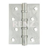 Петля декор, стальная 100мм, универсальная, без колпачка RENZ DECOR FL 100-4BB FH SN никель матовый