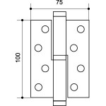 Петля съемная ARMADILLO 613-4 100х75х2.5 SN Матовый никель лев. Box
