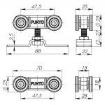 Комплект Punto (Пунто) роликов для раздвижных дверей Soft LINE 45/4
