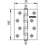 Петля универсальная FUARO 4BB/A/BL 100x75x2,5 PN (мат. никель) БЛИСТЕР