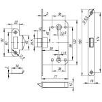 Защелка врезная FUARO PLASTIC P96WC-50 AB бронза