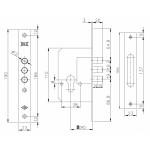 Корпус замка врезного цилиндрового KALE KILIT 189/3M (45 mm) w/b (латунь)