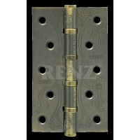 Петля декор, стальная 125мм, универсальная, без колпачка RENZ DECOR FL 125-4BB FH  MAB бронза античная матовая