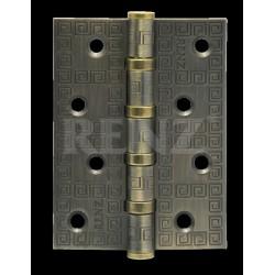 Петля декор, стальная 100мм, универсальная, без колпачка RENZ DECOR MR 100-4BB FH MAB бронза античная матовая