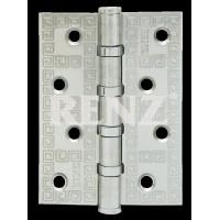 Петля декор, стальная 100мм, универсальная, без колпачка RENZ DECOR MR 100-4BB FH SN никель матовый