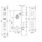 Корпус замка врезного цилиндрового KALE KILIT 152/R (60 mm) w/b (латунь)
