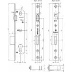 Корпус узкопрофильного замка с роликом FUARO 5124-35 CP (хром)