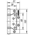 Петля универсальная без врезки FUARO 500-2BB 100x2,5 AC (медь)