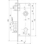Замок врезной в комплекте с ручкой FUARO SET F9013 SN/CP Матовый никель/хром