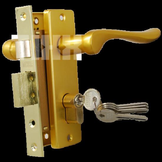 Комплект дверной TIXX LH 7037-125. SB латунь матовая