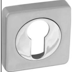 Накладка на цилиндр квадратная RENZ ET 02. SC/CP хром матовый/хром блестящий