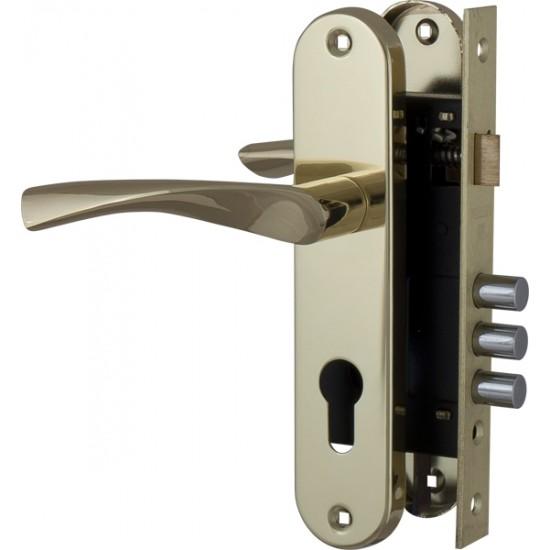 Корпус замка в комплекте с ручкой FUARO SET F1511W/B GP Матовый латунь