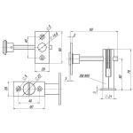 Задвижка торцевая FUARO TDB 860-24 CP (хром) 60мм 8шт./упак.