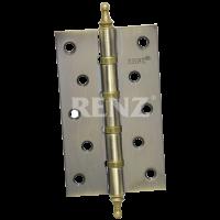 Петля стальная 125 мм. универсальная, с колпачком RENZ 125-4BB CH.  AB бронза античная