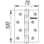 Петля универсальная FUARO 4BB/BL 100x75x2,5 CP (хром) БЛИСТЕР