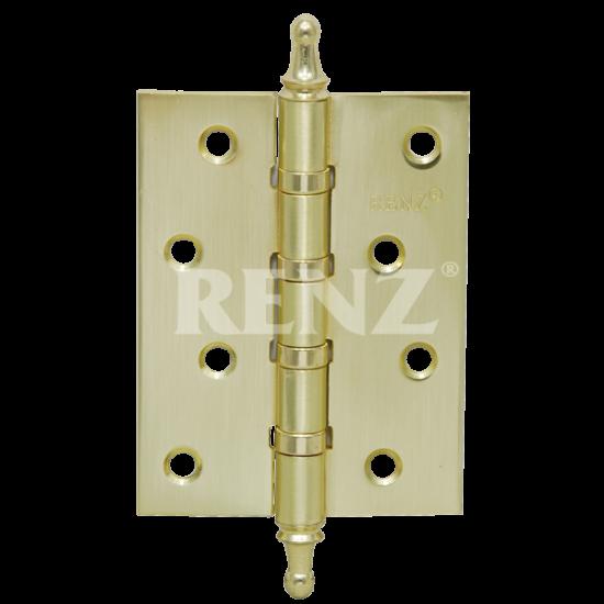 Петля стальная универсальная с колпачком RENZ 100-4BB CH. PB латунь блестящая