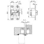 Петля скрытой установки с 3D-регулировкой ARMADILLO Architect 3D-ACH 40 SC Матовый хром прав. 40 кг