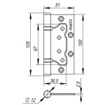 Петля универсальная без врезки PUNTO 200-2B 100x2,5 AC (медь)
